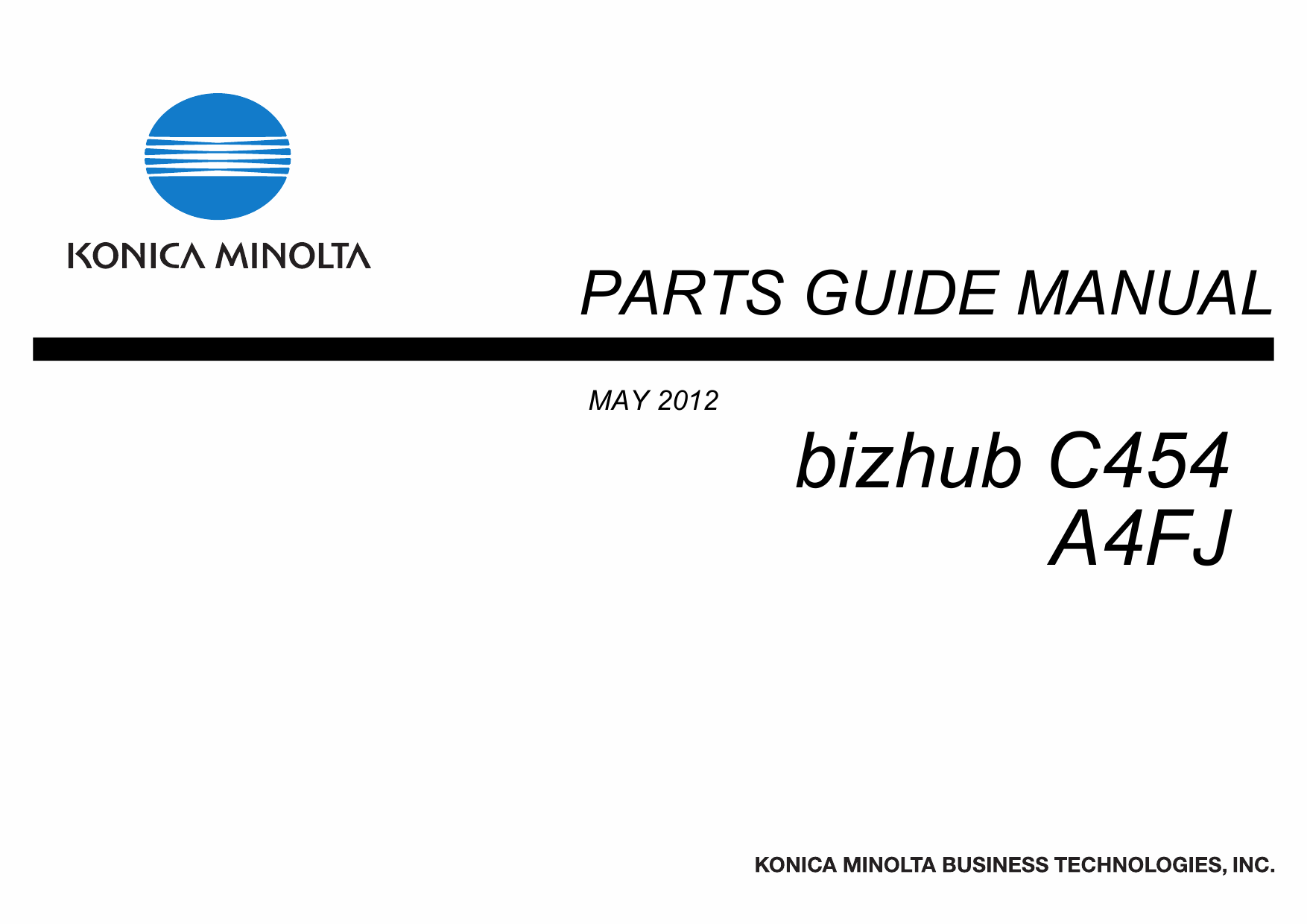 Konica-Minolta bizhub C454 Parts Manual